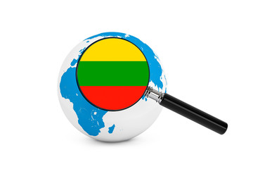 Magnified flag of Lithuania with Earth Globe