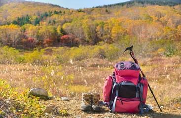 紅葉の山のトレッキング