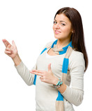 Youngster hand guns gesturing wears colored scarf poster