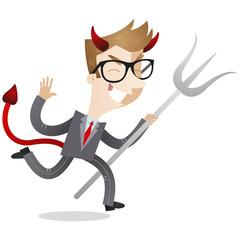 Businessman, devil, running, evil, trident, laughing