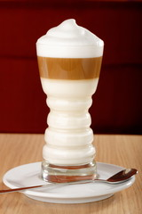Coffee Latte macchiato  in a glass