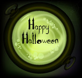 Postcard on Halloween. Witch cauldron of potion