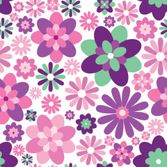 Seamless background of flowers and geometric shapes
