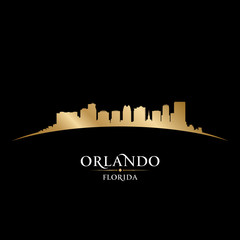 Orlando Florida city silhouette black background
