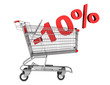 shopping cart with 10 percent discount isolated on white backgro