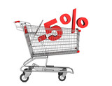shopping cart with 5 percent discount isolated on white backgrou