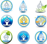 Beautiful yoga, relaxation symbols.