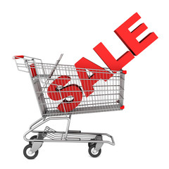 shopping cart with word sale isolated on white background