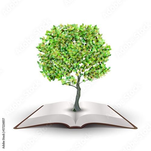 Tree on open book