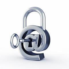 Arobase sign as padlock , internet security