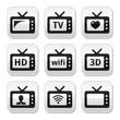 TV set, 3d, HD vector buttons