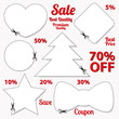 Vector Set: Blank Sale Coupons, labels. Cut off, scissors