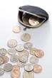 がま口財布と複数の硬貨