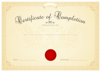 Certificate / Diploma template. Floral pattern, award border