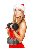 Sexy blonde fitness woman with barbell
