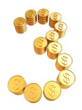 "Number ""three"" of gold coins with dollar sign"