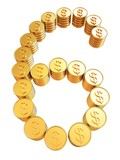 "Number ""six"" of gold coins with dollar sign"