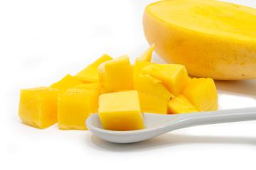 Closeup diced mango