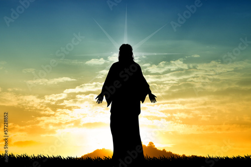 canvas print picture Jesus st sunset