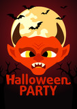 Halloween Party banner with Devil vector