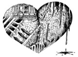 Sad sketched broken heart