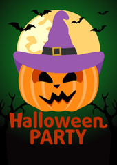 Halloween Party banner with  Pumpkin vector