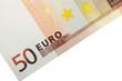 Billet de 50 euros en diagonale