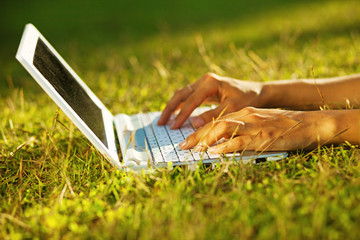 closeup of laptop on a grass (soft focus on fingers)