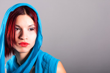 beautiful woman with a blue veil