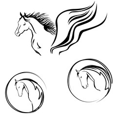 Horse head set. Year of the horse. Circle siluette label.