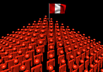 Pyramid of abstract people with Peru flag illustration