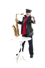 man with trumpet showing trumb