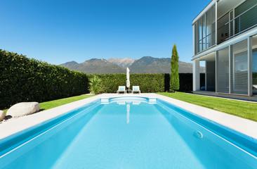 modern house, pool
