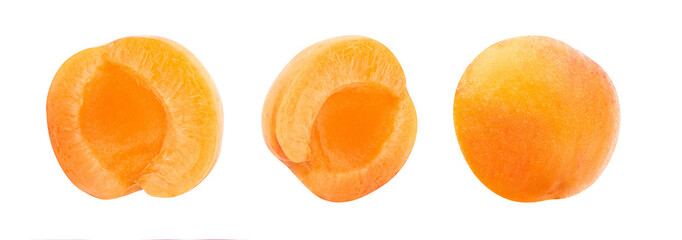 parts of apricot isolated on white from different angles