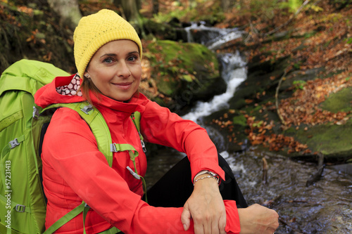 Autumn trek - woman on mountain hike