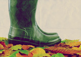 green boots leaves paper