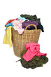 pile of colorful shirts in a wicker basket