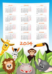 calendar 2014 with safari animals