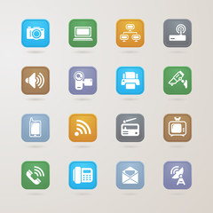 Communication and media icons set