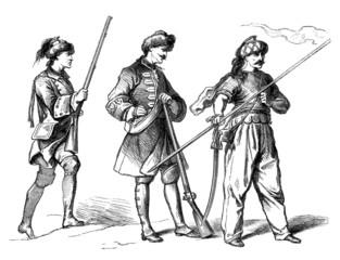 Militaria : 3 Soldiers - 18th century