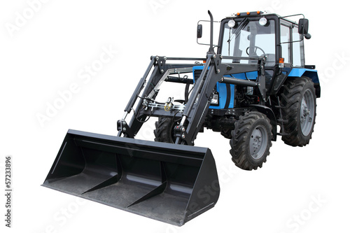 The modern dark blue tractor