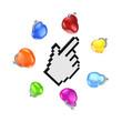 Colorful purses around cursor.