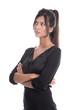 Junge Geschäftsfrau isoliert im Kleid schaut skeptisch - Karrier