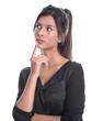 Nachdenkliche skeptische Frau isoliert im business look