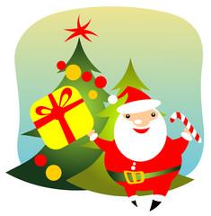 happy santa with gift