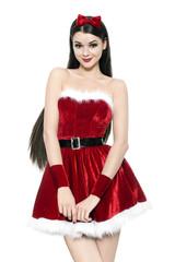 Beautiful young woman as cute santa girl