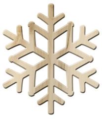 Schneeflocken-Deko aus hellem Ahornholz – freigestellt