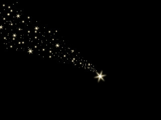 Falling star on the black background