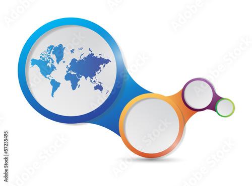world map and links illustration design