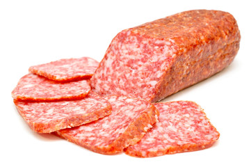 smoked sausage on a white background